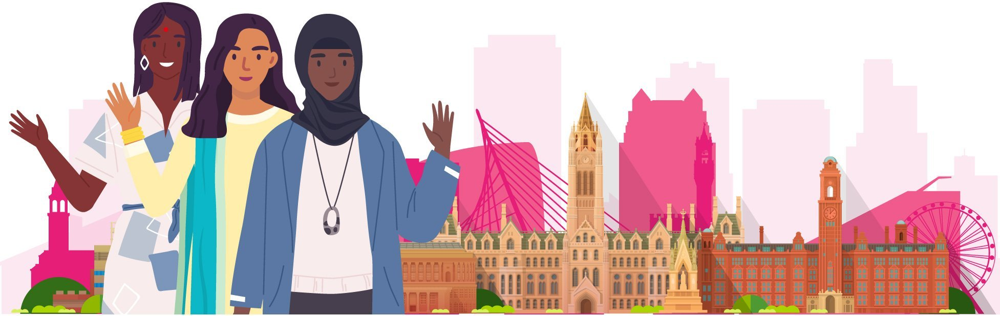 Illustration of women coming together in front of Manchester scene