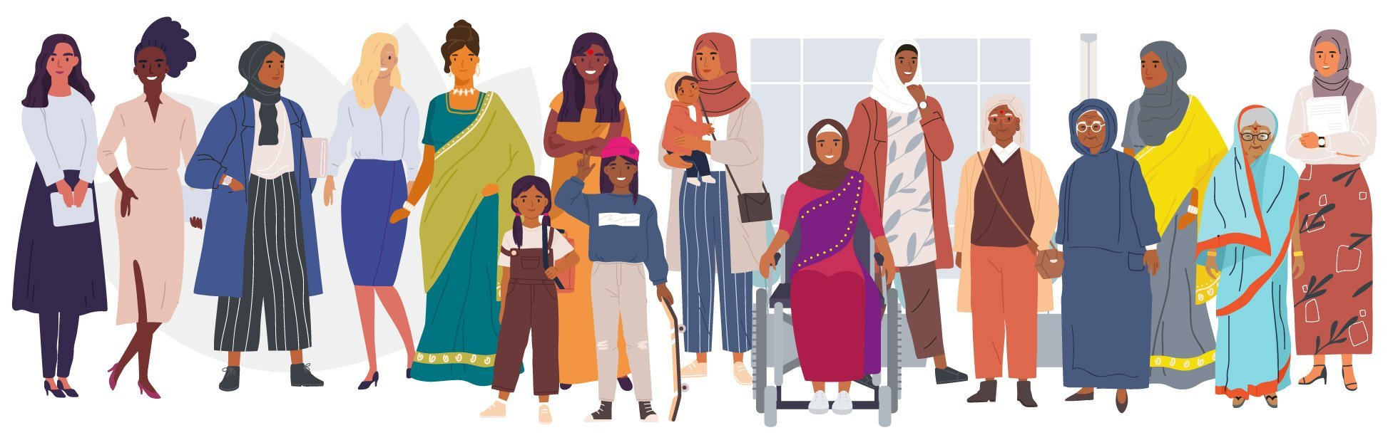 Illustration of a range of women coming together