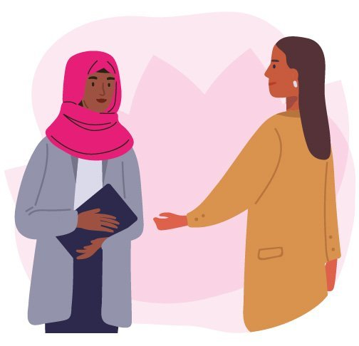 Illustration of supporting women